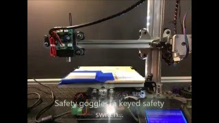 Reach 3d printer modified for laser cutting and engraving with software
