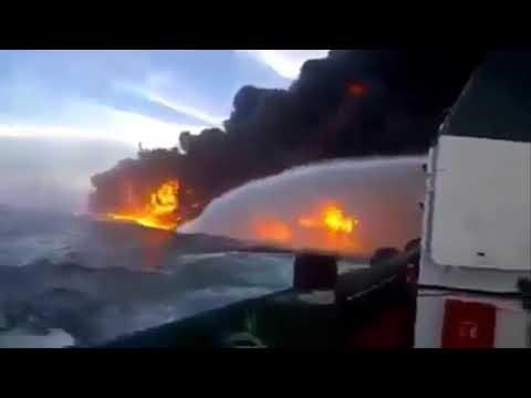 Tanker Ship Explosion at Sea - Oil Tanker Explosion