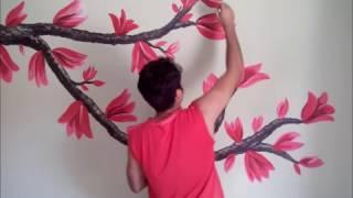 Pintando galho sobre cama (quarto) - pintura decorativa tipo adesivo de parede