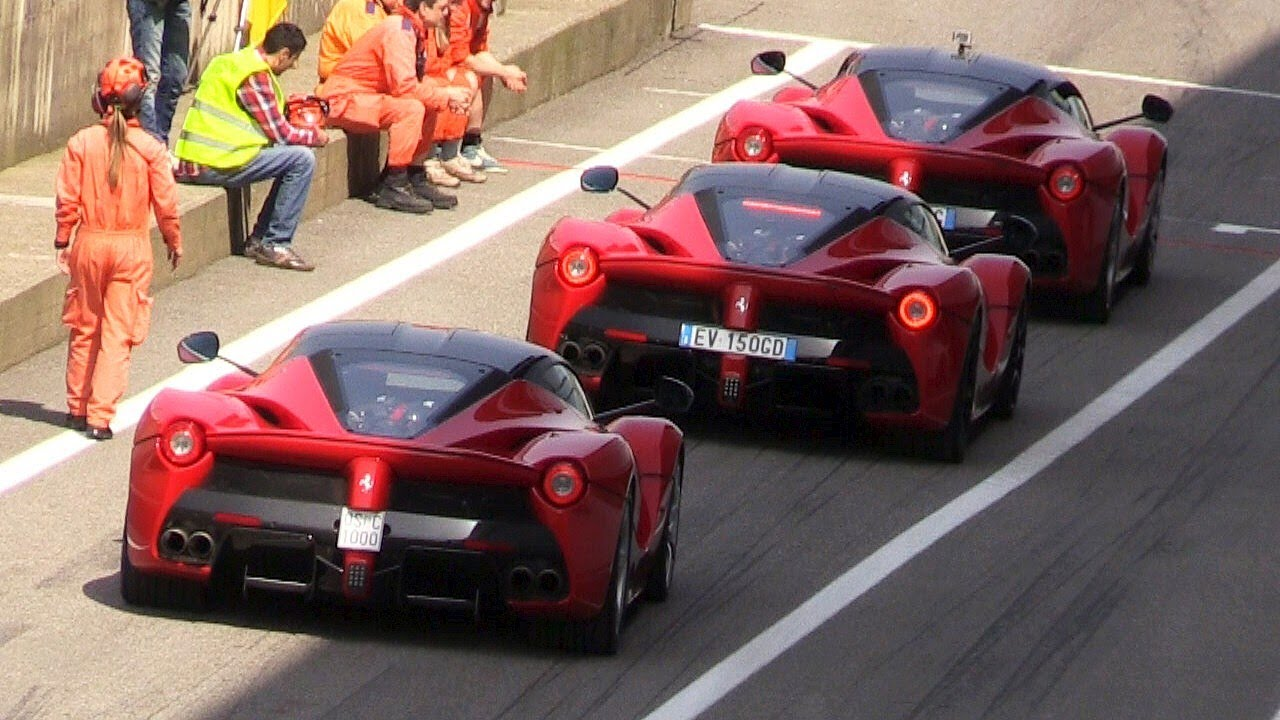 3 x ferrari laferrari sound - start ups, tunnel & fly bys on track
