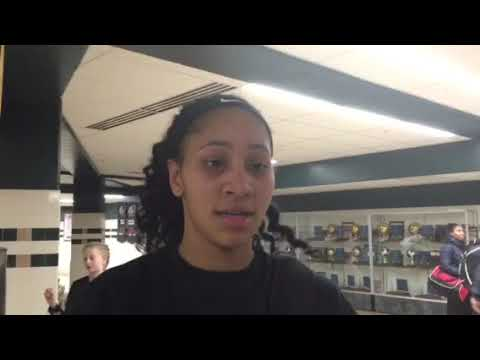 CD East forward Auni Green talks about her game-winning free throws Friday vs. Cumberland Valley