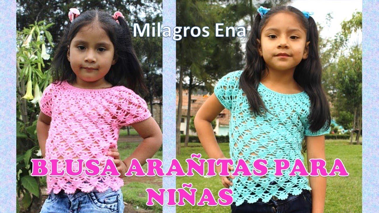 Blusa Tejida a crochet para Niñas en punto Arañitas o Piñitas paso a ...