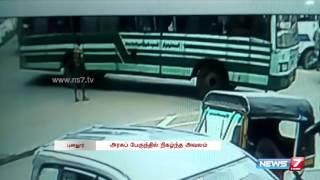 girl falls down from the running bus cctv footage   tamil nadu   news7 tamil