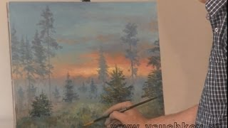 Видео урок живописи маслом. Пишем лес в тумане