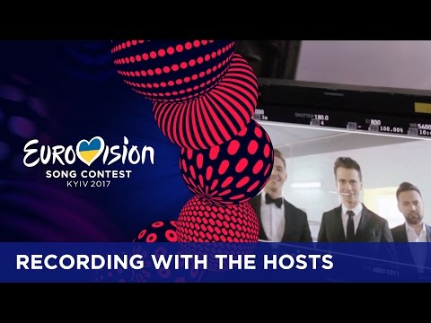 On set recordings with the hosts of Eurovision 2017