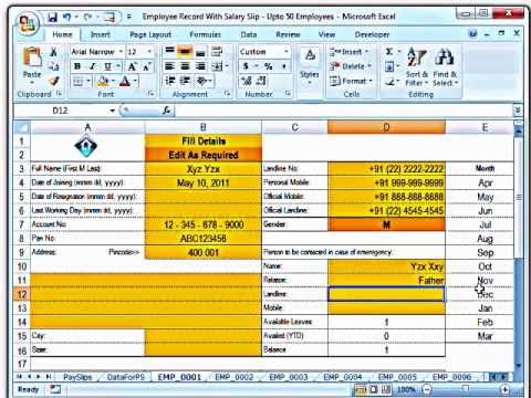 Training MS Excel Creating Salary Slips and Investment Records