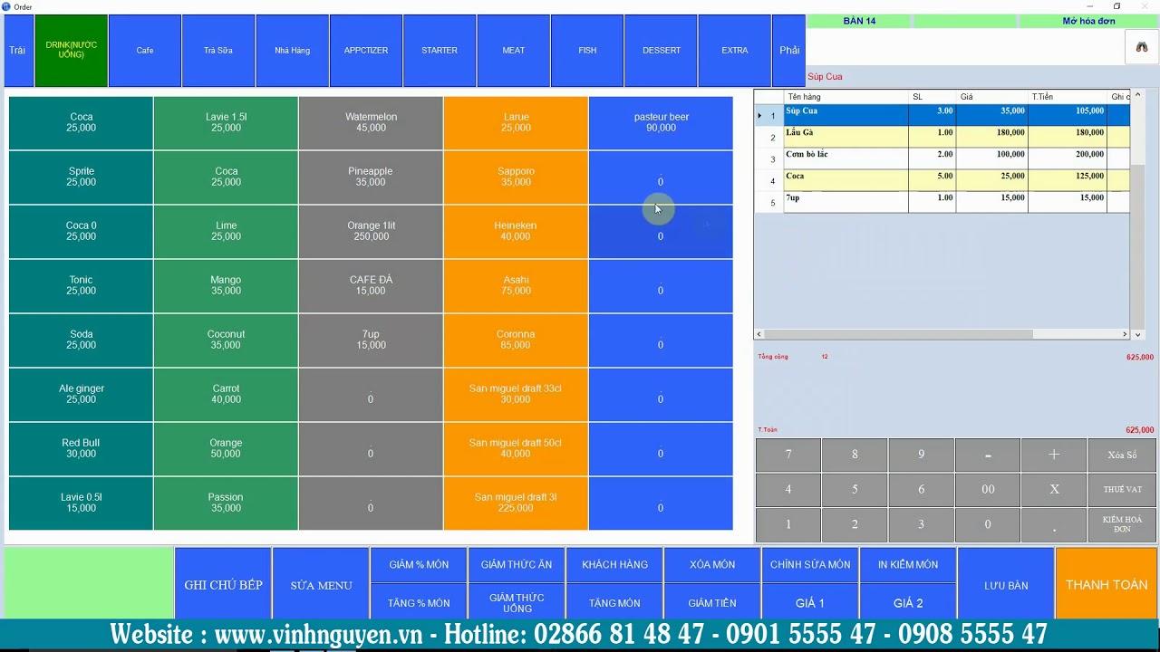 Phần mềm quản lý nhà hàng – Quán ăn – Quán Nhậu Vinh Nguyễn