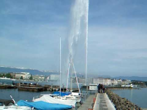 GIANT WATER FOUNTAIN  - Lake Geneva, Switzerland - 24.04.2009
