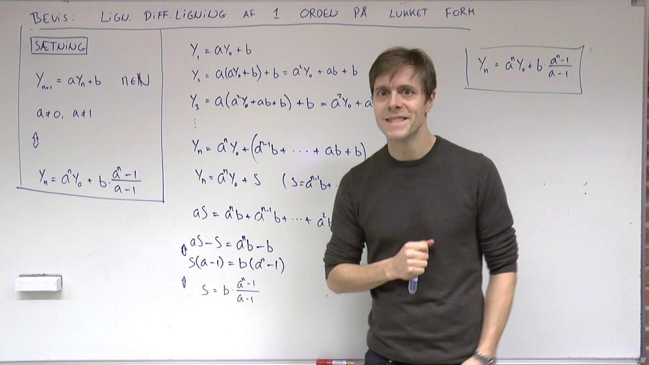 Lineær differensligning af første orden på lukket form (bevis)