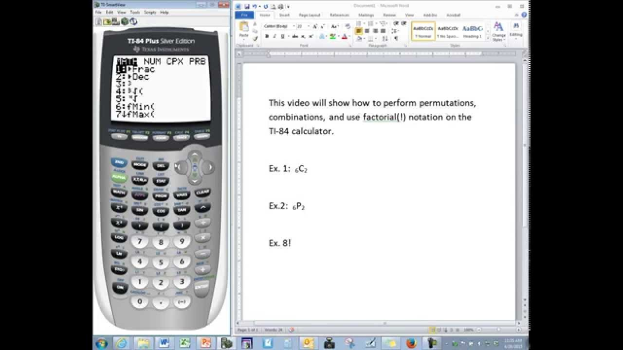 TI-84 Tutorial: Permutations, Combinations, and Factorial Notation