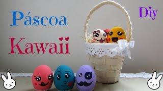 Cestinha com cascas de ovos decoradas kawaii