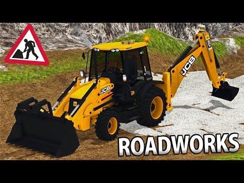 ROADWORKS IN FARMING SIMULATOR 17 | JCB 3CX