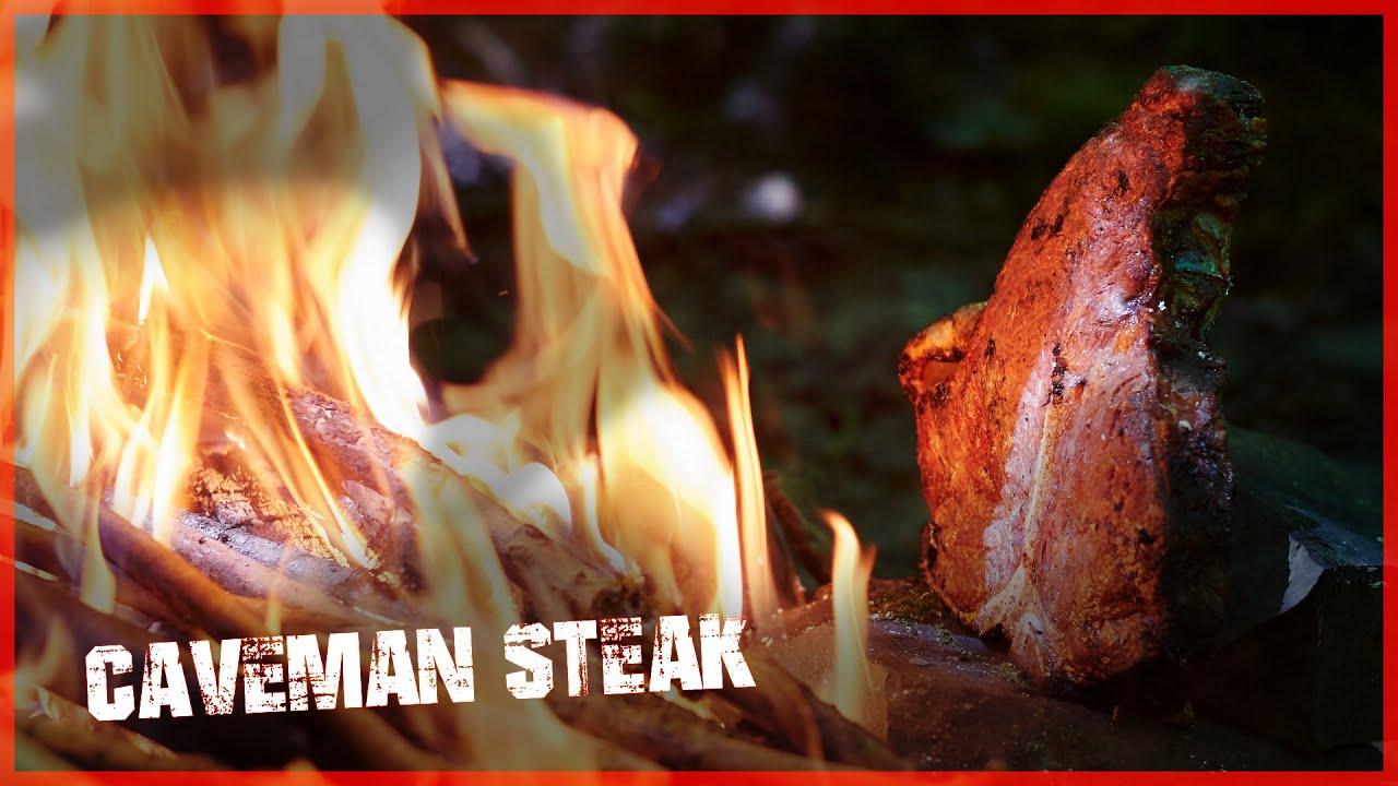🍂 BBCrew Outdoors 6 - Epic Bushcraft Porterhouse Steak Caveman Style in the Woods [Food ASMR]