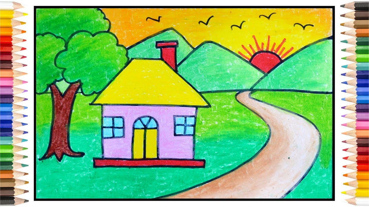 How to draw simple scenery   Scenery drawing for kids ...