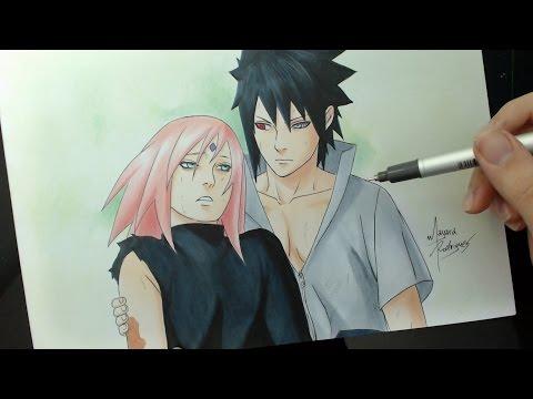 Speed Drawing - Sakura and Sasuke (Naruto Shippuden 470)