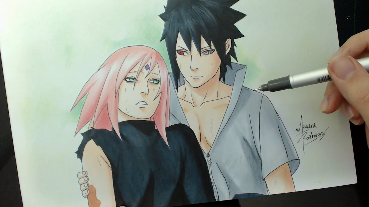 Speed drawing sakura and sasuke naruto shippuden 470