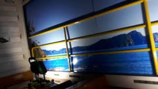 京都鉄道博物館で志国高知幕末維新号の車内紹介シーン(2020年2月1日土曜日)携帯電話で撮影