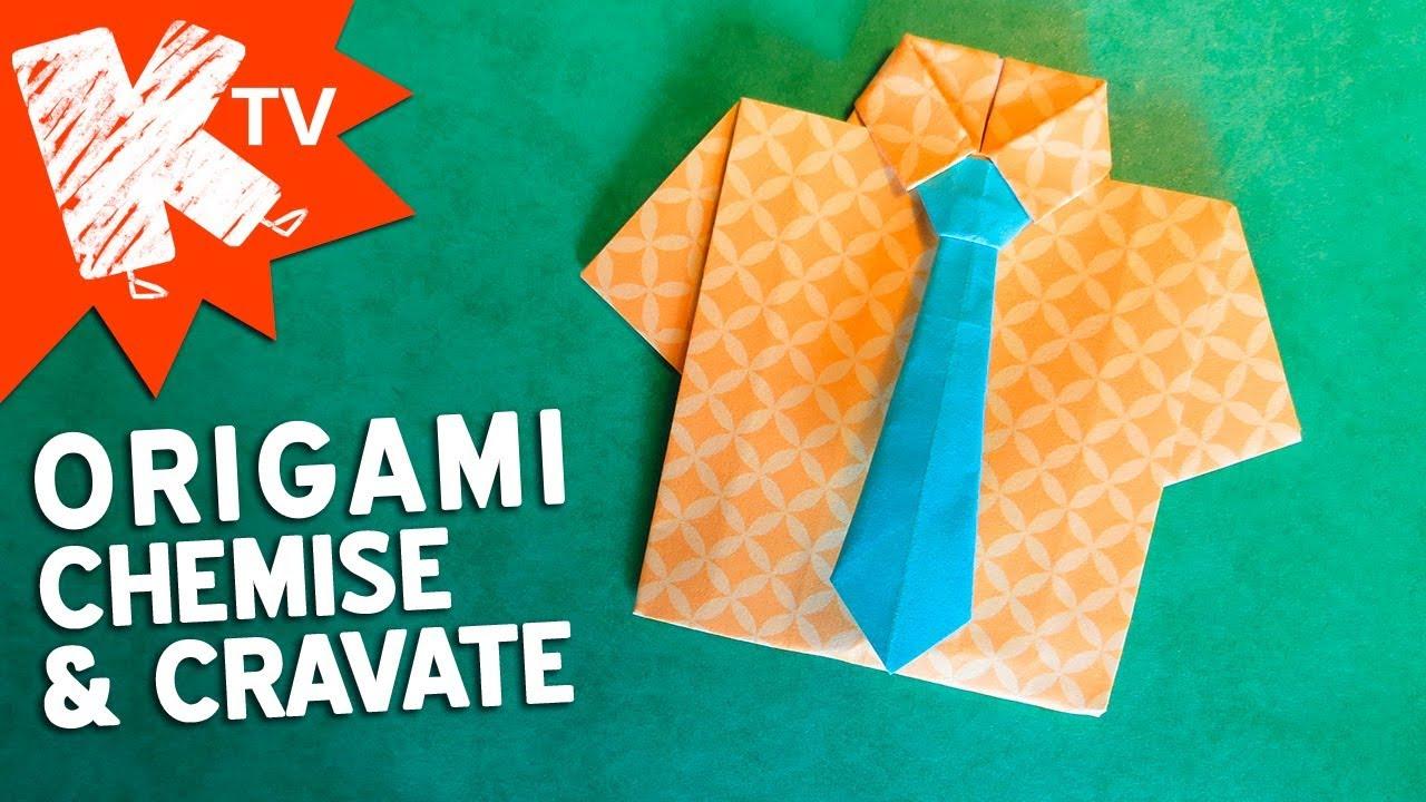 Chose A Faire Pour La Fete Des Pere origami - chemise et cravate en papier - fête des pères