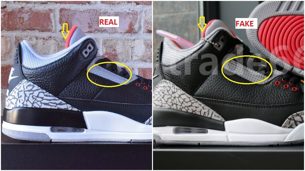 b08be84bf664 Fake Air jordan 3 black Cement Spotted-Quick Ways To identify them ...