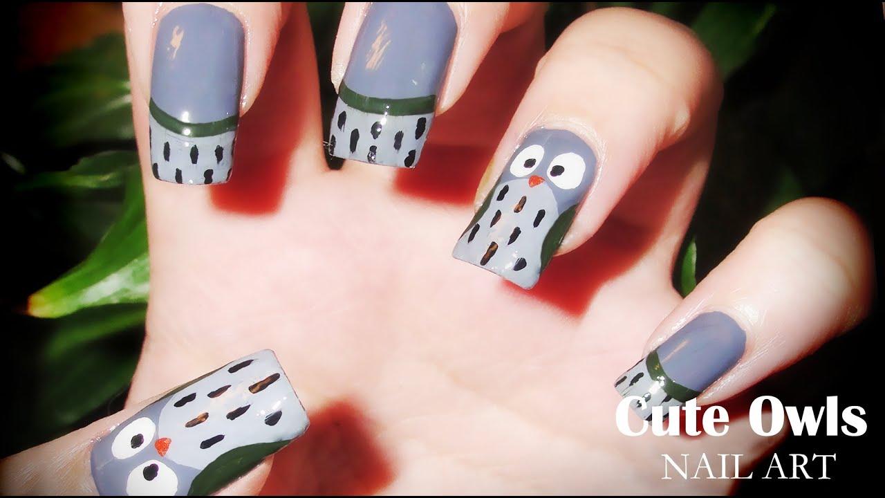 Cute Owls nail art - YouTube