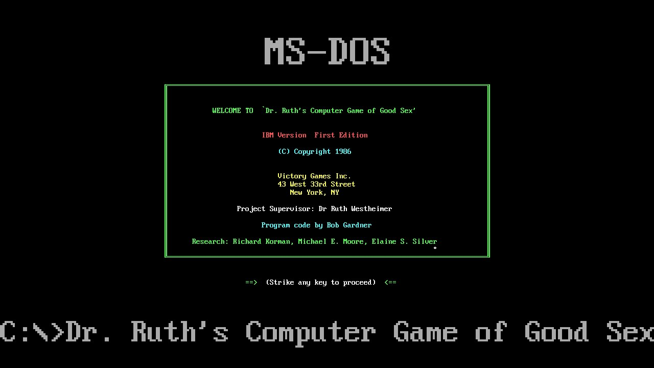 Dr ruths good game of sex