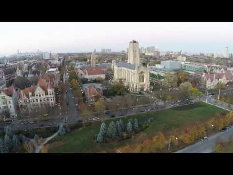 Aerial Footage - Midway Plaisance Park : University of Chicago Campus