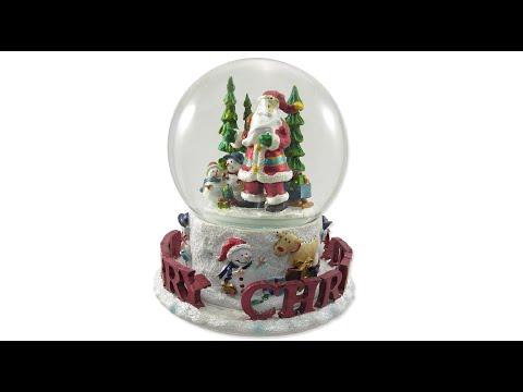 Snow Globe - Santa & Merry Christmas - Musical Wind-Up - The Christmas Warehouse
