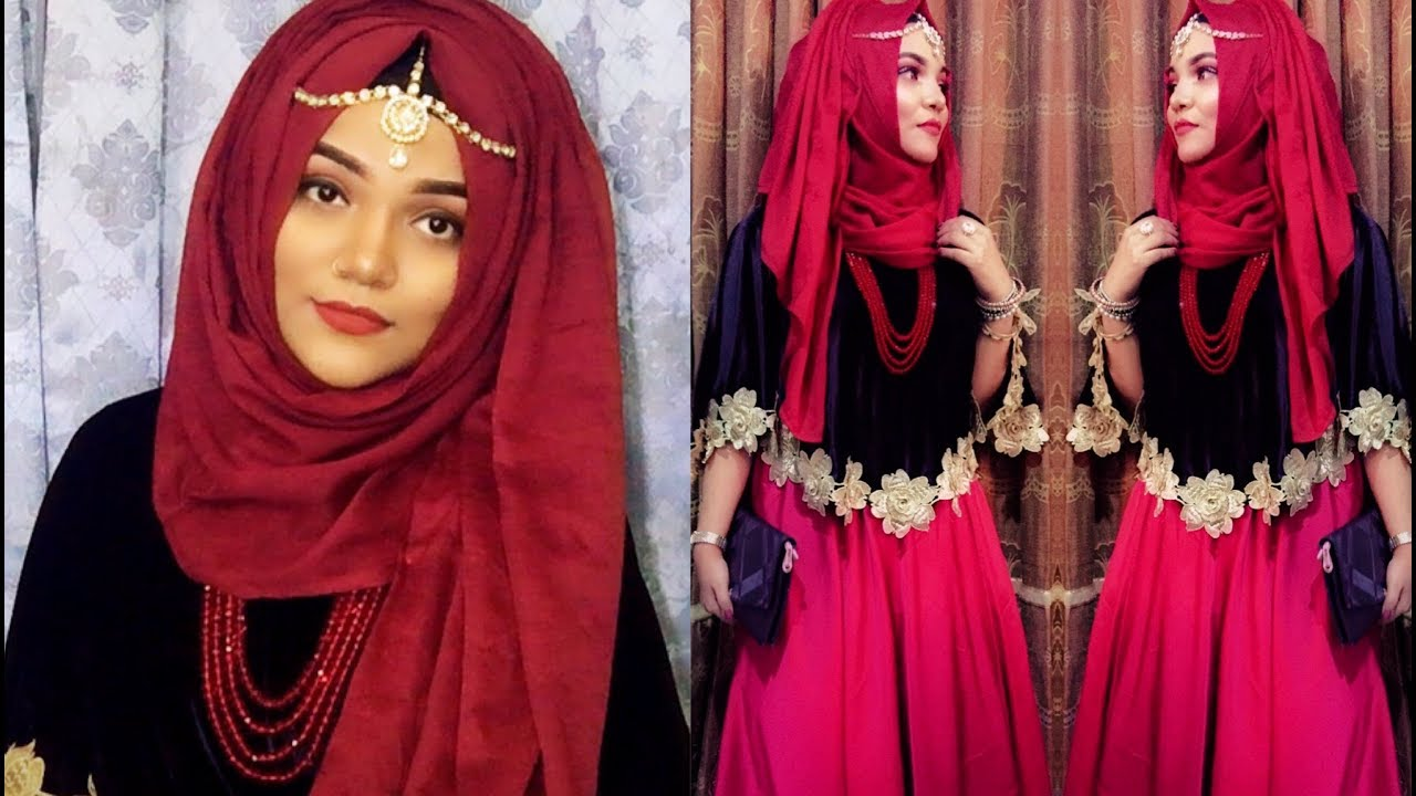 Hijab with Gown /Wedding Party Hijab Style
