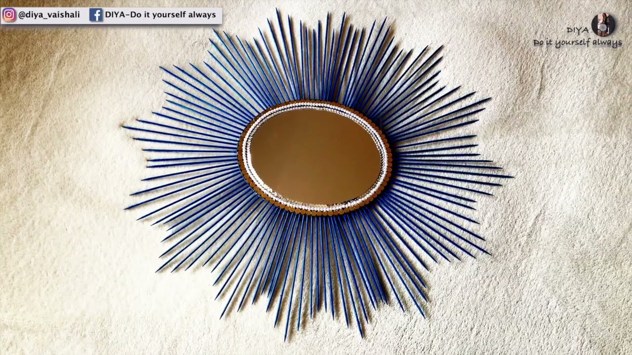 DIY Sunburst Mirror Wall Decor Using Bamboo Skewers | Sunburst Wall Art | Wall Art