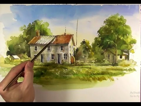 Sketching Landscapes in Watercolor Paint - YouTube