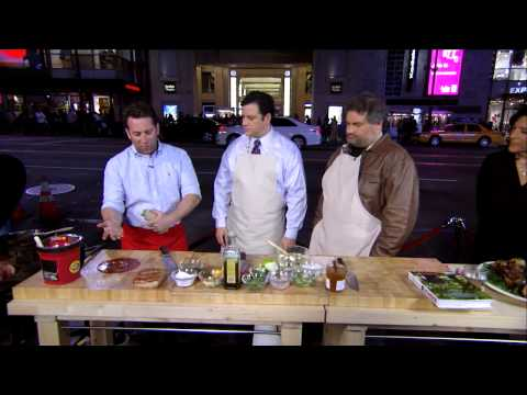 Adam Perry Lang & Artie Lange BBQ Demonstration - Jimmy Kimmel Live - Jimmy goes through a BBQ demo with expert Adam Perry Lang, and Artie Lang on Hollywood Blvd