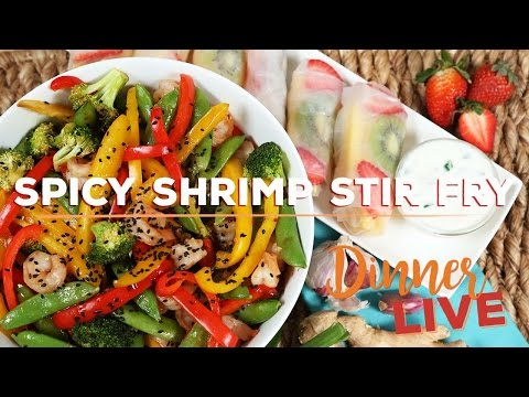 Spicy Shrimp Stir Fry | Dinner LIVE with Mind Over Munch