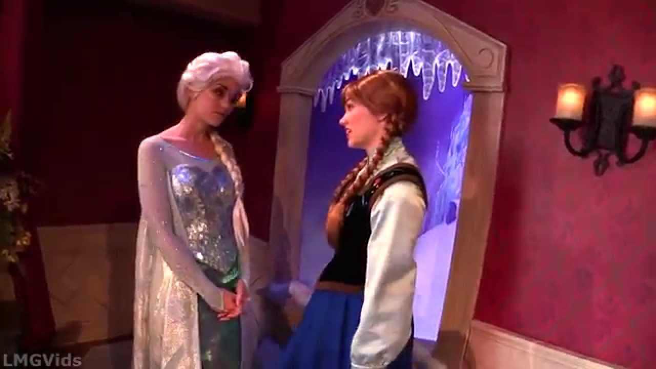 Interactive Frozen Anna And Elsa Meet And Greet Disneyland 1080p