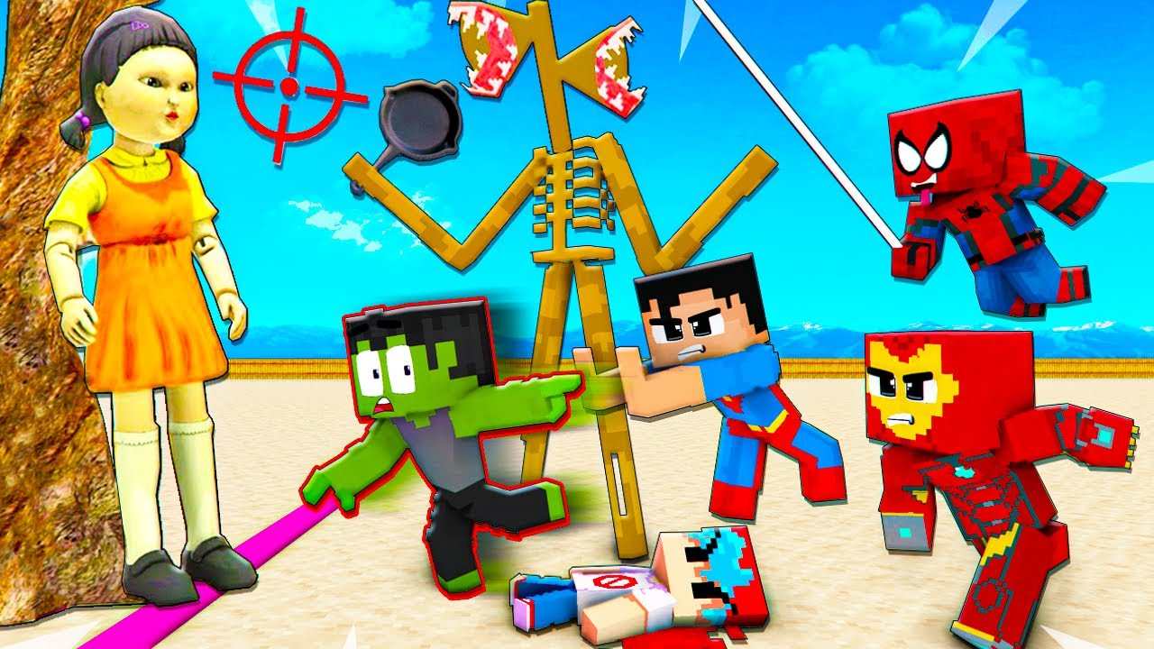 SQUID GAME vs SUPERHEROES Hulk Siren Head Mr.Meat Red Light Green Light - Minecraft Animation Roblox