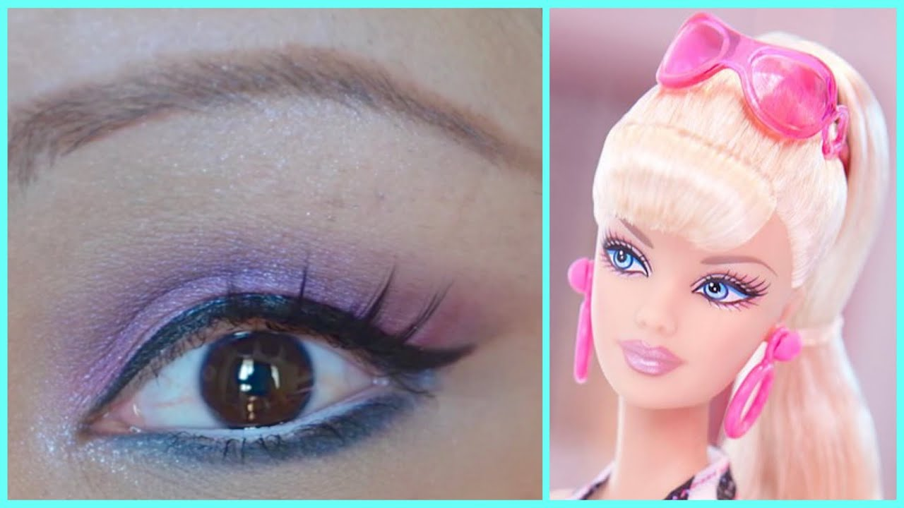 Barbie makeup tutorial pink and purple youtube barbie makeup tutorial pink and purple baditri Image collections