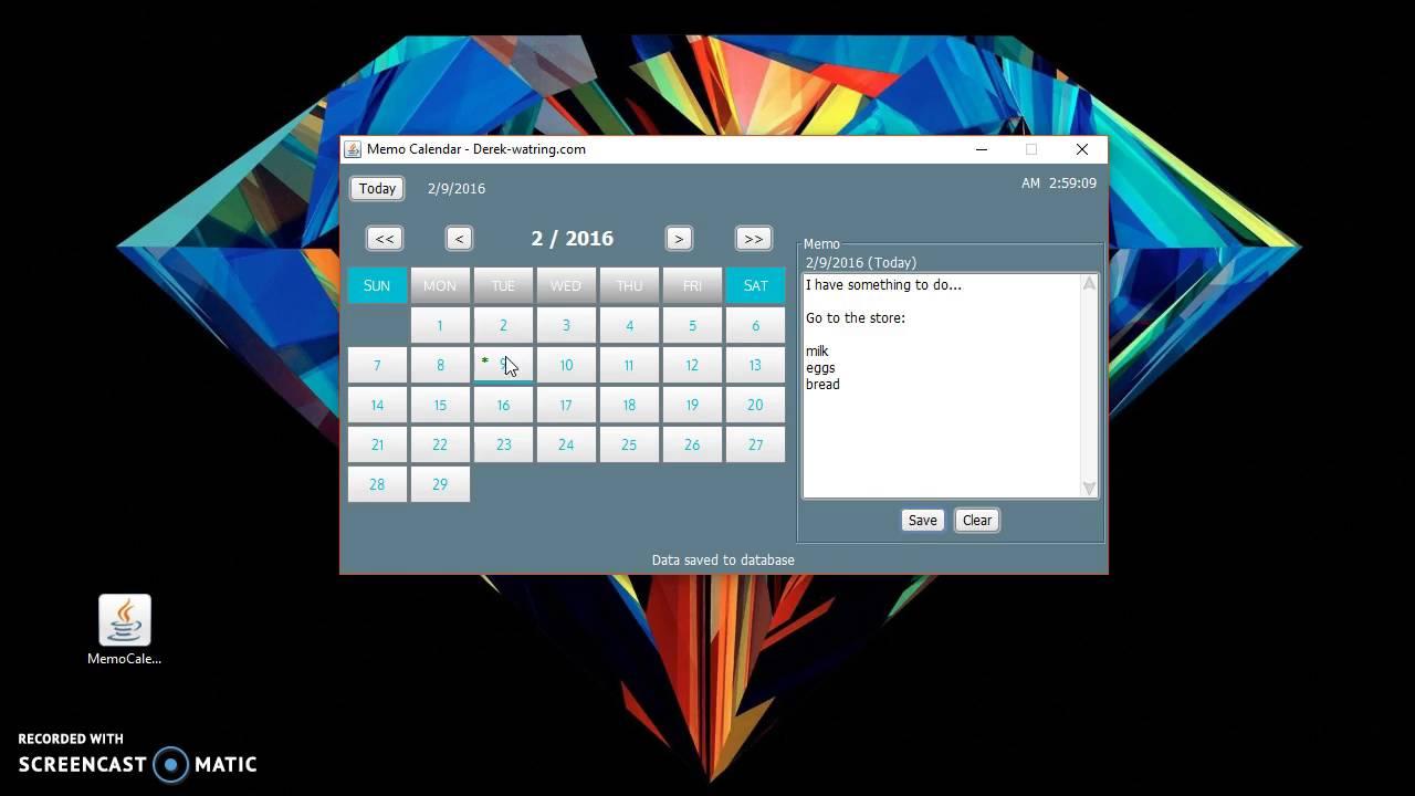 memo calendar desktop application youtube