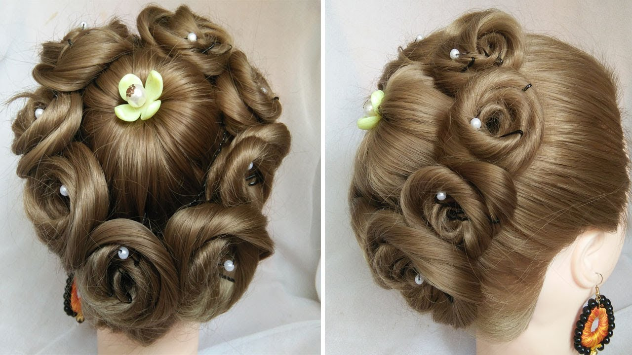 easy and amazing juda hairstyle with flower bun | bridal updo hairstyles | easy wedding hairstyles