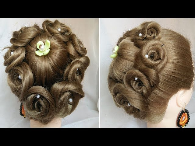 Easy And Amazing Juda Hairstyle With Flower Bun Bridal Updo