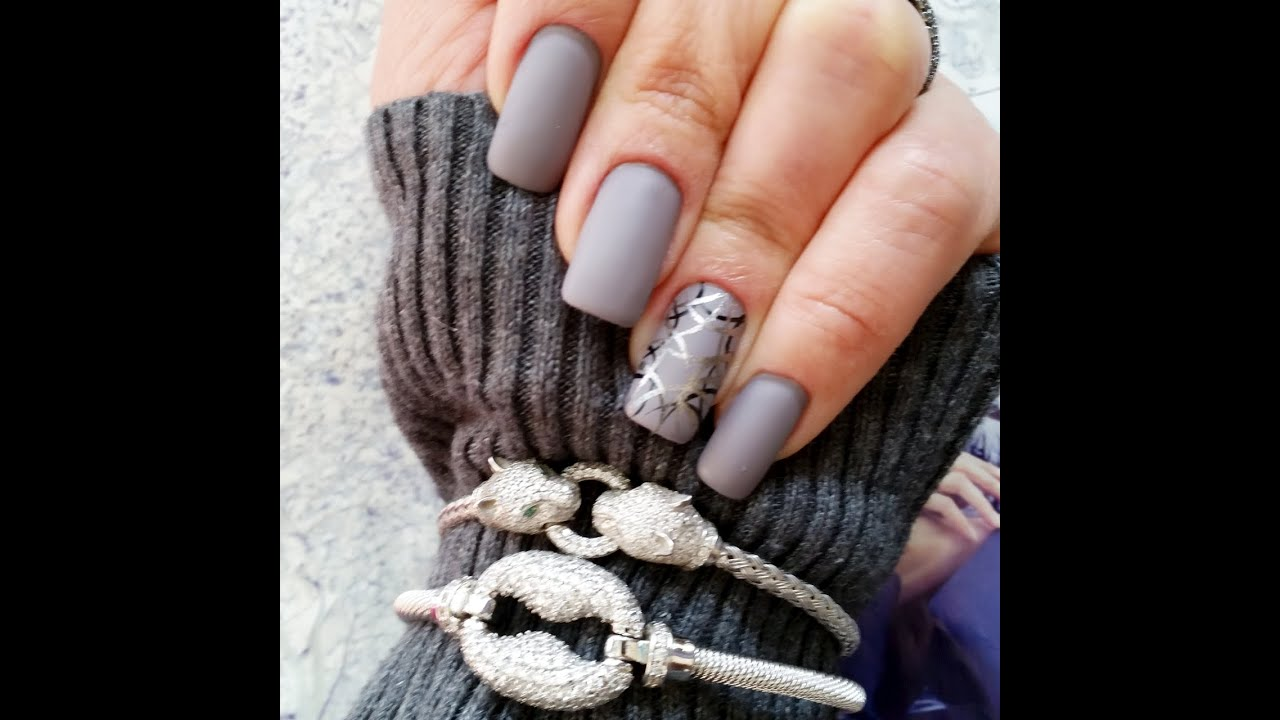 gray matte nail art - youtube
