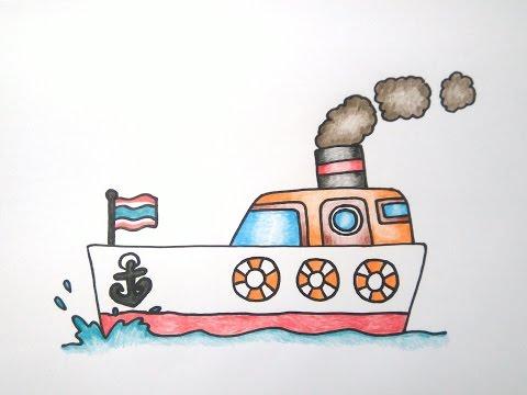 เรือ สอนวาดรูปการ์ตูนน่ารักง่ายๆ ระบายสี How to Draw Ship Cartoon Easy for Kids