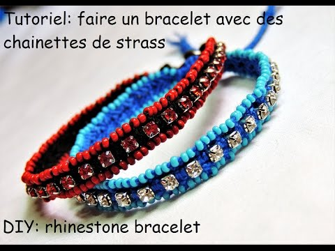faire des bracelets avec des chainettes de strass diy rhinestone bracelet youtube. Black Bedroom Furniture Sets. Home Design Ideas
