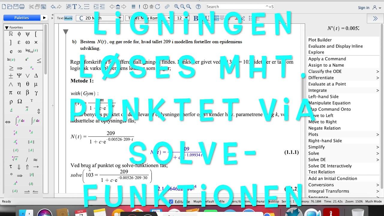 Gennemgang af differentialligninger mhp. et eksempel