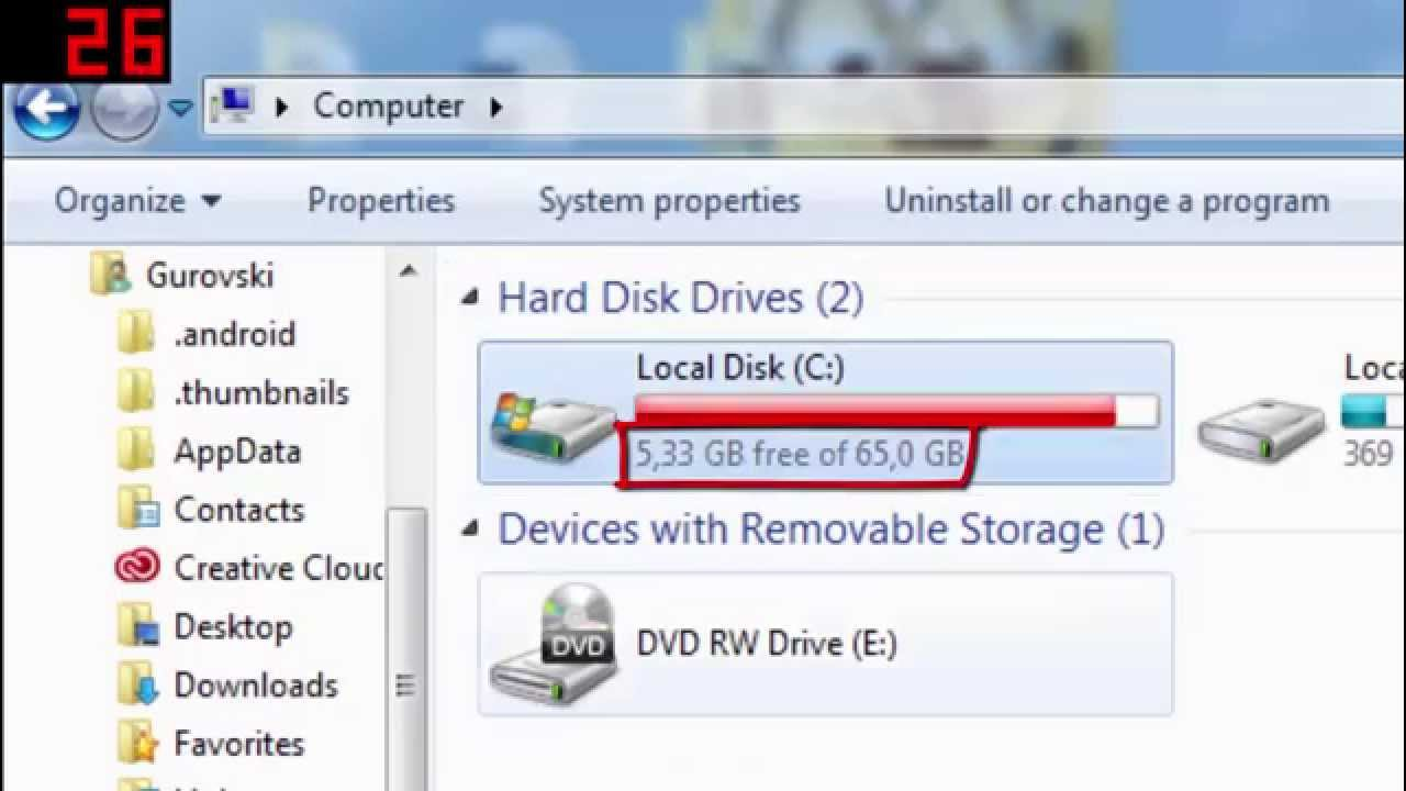 how to clear local disk space e