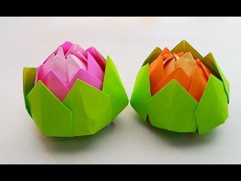 Origami Lotus...พับกระดาษ พับดอกบัวกลีบซ้อน...