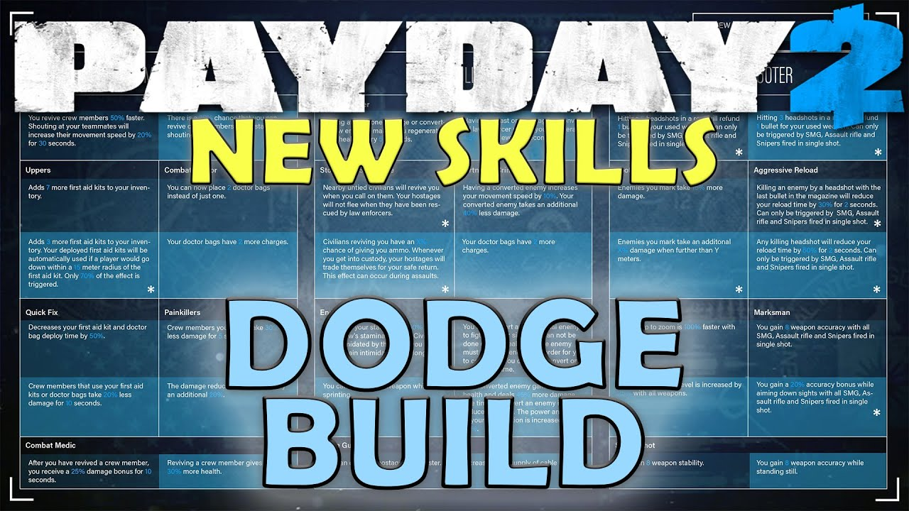 Build A Dodge >> Dodge Build New Skill Trees Payday 2 Update 97 6 Youtube