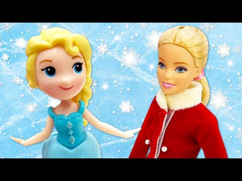 Видео про куклы. Как Барби учится стоять на коньках? Игры для детей