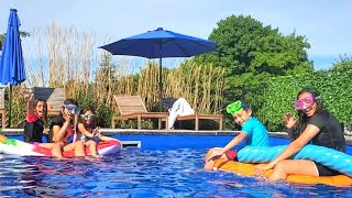 Stay on the Swimming Pool Flote challenge with HZHtube kids fun