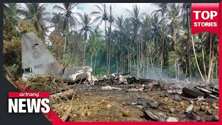 At least 45 killed Sunday after Philippine Air Force plane crashes into ground