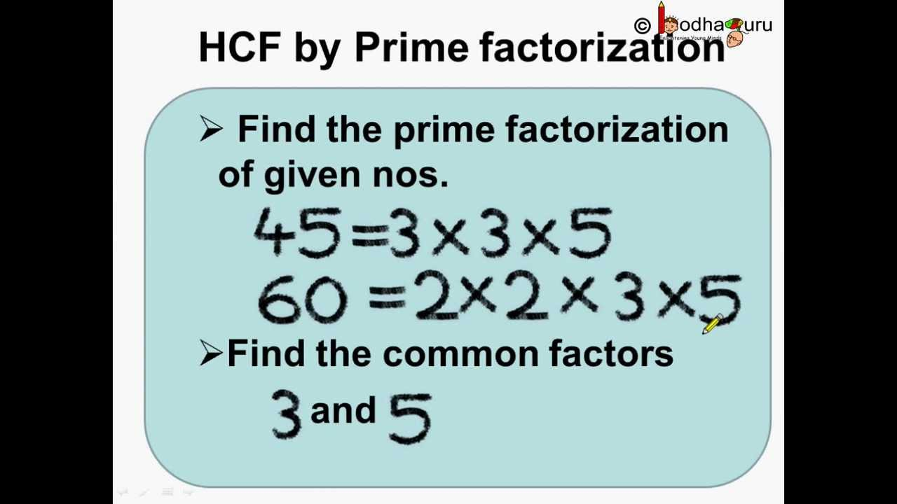 Math - How to find HCF By Prime Factorization - English - YouTube