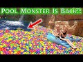 Pool Monster Found Lurking Underneath 30,000 Ball Pit Balls in Our Pool!!!